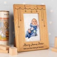 Cloud & Stars Personalised Oak Frame: Portrait - 1st Birthday Gifts