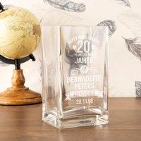 Engraved 20th Anniversary Custom Glass Vase - Custom Gifts