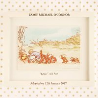 Winnie the Pooh Print with Personalised Adopted On Frame - Winnie The Pooh Gifts