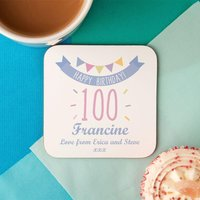 100th Birthday Drinks Coaster for Her - 100th Birthday Gifts