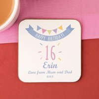 Girls 16th Birthday Drinks Coaster - 16th Birthday Gifts
