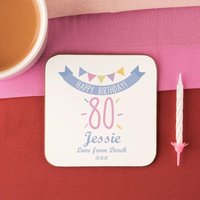 80th Birthday Drinks Coaster for Her - 80th Birthday Gifts