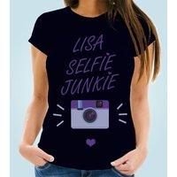 Customised Selfie Junkie Womens Tee - Selfie Gifts