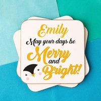 "Cute Penguin ""Merry and Bright"" Customised Coaster - Penguin Gifts"