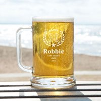 Bespoke Engraved 30th Wreath Glass Pint Tankard: Special Offer - 30th Gifts