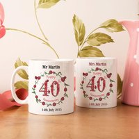 Personalised 40th Wedding Anniversary Mug Set - Wedding Anniversary Gifts