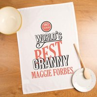 Customised Worlds Best Granny Printed Tea Towel - Forever Bespoke Gifts