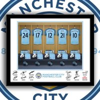 Manchester City Dressing Room Bespoke Framed Print - Manchester City Gifts
