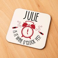 Quirky Wine O Clock Personalised Drinks Coaster - Quirky Gifts