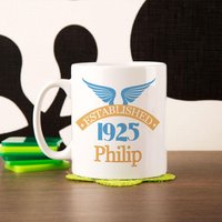 90th Birthday Established Since Mug For Him - 90th Birthday Gifts