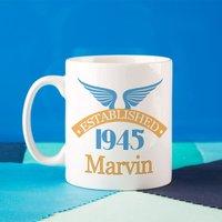 70th Birthday Established Since Mug For Him - 70th Birthday Gifts