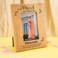 Personalised Maid of Honour Oak Frame - Maid Of Honour Gifts