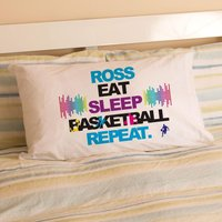 Personalised Eat Sleep Basketball Repeat Pillowcase - Basketball Gifts