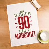 Customised 90 Years of...Birthday Tea Towel - 90th Birthday Gifts