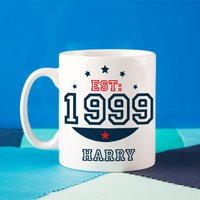 Personalised 16th Birthday Est Mug For Him - 16th Birthday Gifts