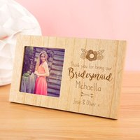 Personalised Bridesmaid Wooden Photo Frame - Wedding Gifts