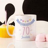 70th Birthday Bunting Mug For Her - 70th Birthday Gifts