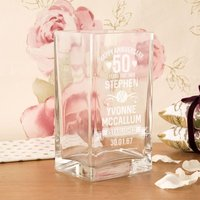 Personalised 50th Anniversary Engraved Glass Vase - 50th Gifts