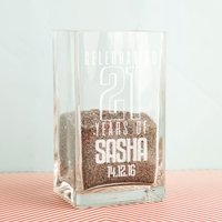 21st Birthday Personalised Glass Vase - 21st Gifts