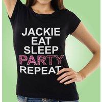 Eat Sleep Party Repeat Custom Black Hen T-Shirt - Custom Gifts