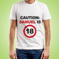 Personalised Caution: 18th Birthday Mens T-Shirt - 18th Gifts