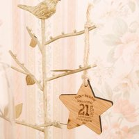 Personalised 21st Birthday Wooden Star - 21st Gifts