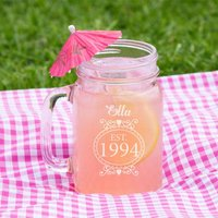 Personalised 21st Birthday Glass Mason Jar For Her - 21st Gifts