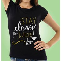 Personalised Stay Classy Black Hen T-Shirt - Classy Gifts
