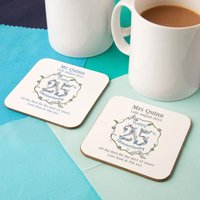 Personalised 25th Silver Anniversary Double Coaster Set - Wedding Anniversary Gifts