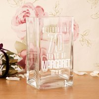 Customised 70th Birthday Engraved Glass Vase - 70th Birthday Gifts