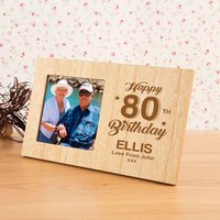 Personalised 80th Birthday Wooden Photo Frame - 80th Birthday Gifts