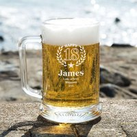 Personalised 18th Wreath Engraved Glass Beer Tankard: Special Offer - 18th Gifts