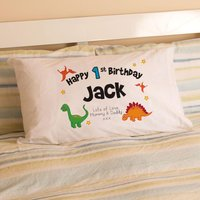 1st Birthday Dinosaur Pillowcase - 1st Birthday Gifts