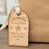 New Baby Boy Wooden Tag - Forever Bespoke Gifts