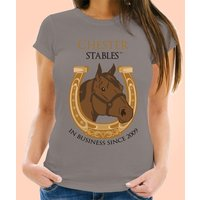 Bespoke Womens Grey Horse Stables T-shirt - Horse Gifts
