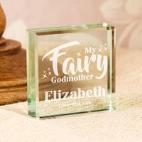 Personalised Fairy Godmother Jade Glass Block - Godmother Gifts