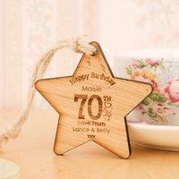 70th Birthday Wooden Star - 70th Birthday Gifts