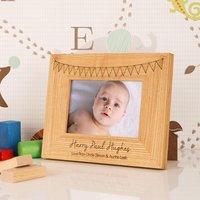 Customised Bunting Oak Frame: Landscape - 1st Birthday Gifts