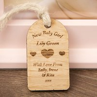 New Baby Girl Wooden Tag - Forever Bespoke Gifts