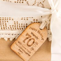 Personalised 70th Birthday Wooden Tag - 70th Birthday Gifts