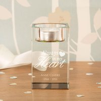 Custom Always in my Heart Memorial Glass Tealight Holder - Custom Gifts