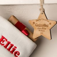 Laser Engraved Godmother Wooden Star - Godmother Gifts