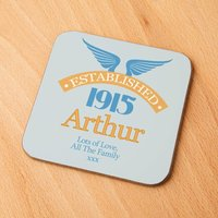 100th Birthday Established Year Drinks Coaster for Him - 100th Birthday Gifts