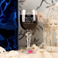 Personalised Maid of Honour Wine Glass With Wine Charm and Presentation Box - Maid Of Honour Gifts