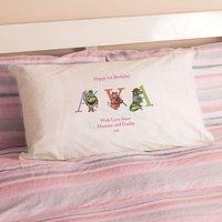 1st Birthday Illustrated Girls Name Pillowcase - 1st Birthday Gifts