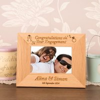 Engraved Engagement Oak Frame - Engagement Gifts