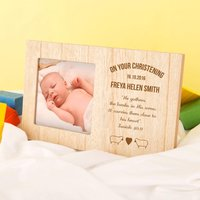 Personalised Christening Photo Frame with Engraved Bible Verse - Christening Gifts