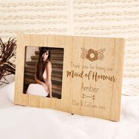Maid of Honour Personalised Wood Photo Frame - Maid Of Honour Gifts