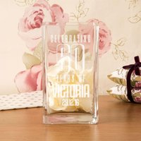 Engraved 60th Birthday Personalised Square Vase - 60th Birthday Gifts