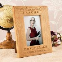 Customised Awesome Teacher Oak Frame - Teacher Gifts
